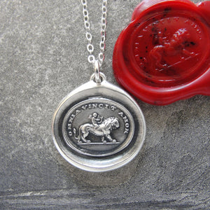 Love Conquers All - Silver Wax Seal Necklace Cupid And Lion - RQP Studio