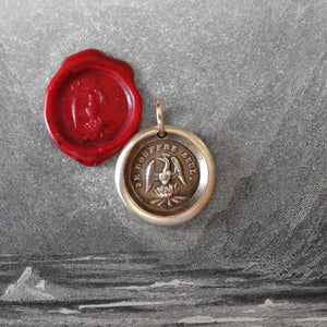 Phoenix Wax Seal Charm - Rise Again - antique wax seal jewelry pendant French motto I Suffer Alone - RQP Studio
