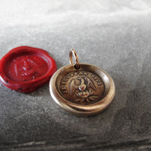 Load image into Gallery viewer, Phoenix Wax Seal Charm - Rise Again - antique wax seal jewelry pendant French motto I Suffer Alone - RQP Studio