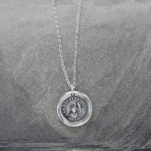 Load image into Gallery viewer, Phoenix Wax Seal Necklace - I Suffer Alone - antique Mythical Phoenix in silver - RQP Studio