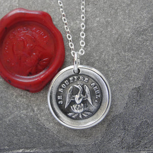 Phoenix Wax Seal Necklace - I Suffer Alone - antique Mythical Phoenix in silver - RQP Studio