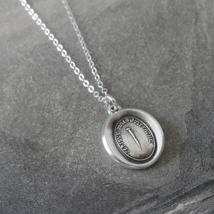 "Wax Seal Necklace Pin motto - antique wax seal charm jewelry Pin Wax Seal Necklace in silver ""Although I Pierce I Attach"" - RQP Studio"