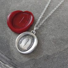 "Load image into Gallery viewer, Wax Seal Necklace Pin motto - antique wax seal charm jewelry Pin Wax Seal Necklace in silver ""Although I Pierce I Attach"" - RQP Studio"