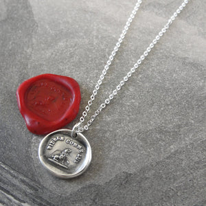 Lovable and Faithful - Silver Wax Seal Necklace with Poodle Dog - RQP Studio