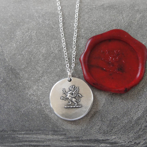 Rampant Griffin Wax Seal Necklace - Strength Courage Boldness - antique wax seal charm jewelry - RQP Studio