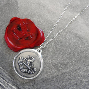 Deeds Not Words - Silver Wolf Wax Seal Necklace - RQP Studio