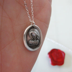 Raven Wax Seal Necklace In Silver - Knowledge Thought and Mind - RQP Studio