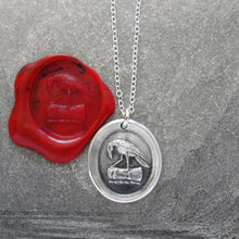Load image into Gallery viewer, Raven Wax Seal Necklace In Silver - Knowledge Thought and Mind - RQP Studio