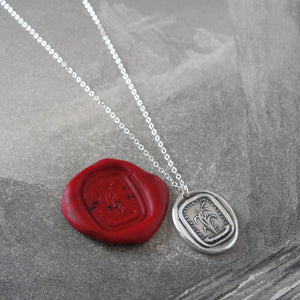 Bend, Never Break - Silver Wax Seal Necklace Bulrush Reed - RQP Studio