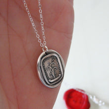 Load image into Gallery viewer, Bend, Never Break - Silver Wax Seal Necklace Bulrush Reed - RQP Studio