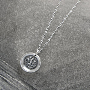 I Grow Strong Again - Silver Wax Seal Necklace With Oak Tree