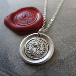 Prickly Rose Wax Seal Necklace - antique wax seal jewelry German motto Not Without Thorns