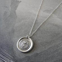 Load image into Gallery viewer, Prickly Rose Wax Seal Necklace - antique wax seal jewelry German motto Not Without Thorns - RQP Studio