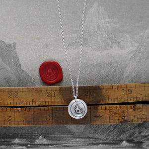 Tiny Silver Dog Wax Seal Necklace - Faithful Loyal Friend