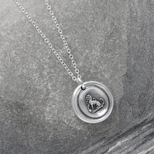 Load image into Gallery viewer, Tiny Silver Dog Wax Seal Necklace - Faithful Loyal Friend