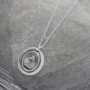 Silver Wax Seal Necklace with Palm Tree - When Struck I Rise - RQP Studio