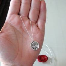 Load image into Gallery viewer, Silver Wax Seal Necklace with Palm Tree - When Struck I Rise - RQP Studio