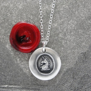 Miniature Unicorn Silver Wax Seal Necklace - Strength Courage Symbol