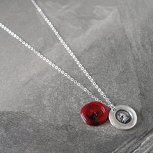 Load image into Gallery viewer, Miniature Unicorn Silver Wax Seal Necklace - Strength Courage Symbol