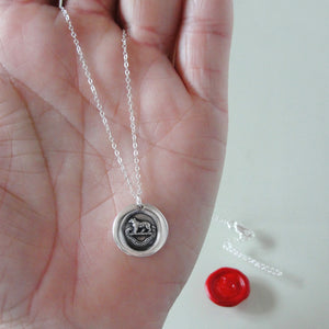Bear Wax Seal Necklace In Silver - Torch Of The Mind Lights Path To Glory