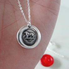 Load image into Gallery viewer, Bear Wax Seal Necklace In Silver - Torch Of The Mind Lights Path To Glory
