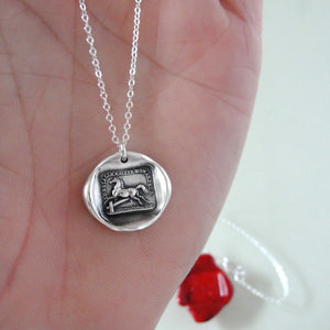 Silver Horse Wax Seal Necklace - Overcome Obstacles Equestrian Jewelry