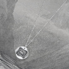 Load image into Gallery viewer, Silver Horse Wax Seal Necklace - Overcome Obstacles Equestrian Jewelry