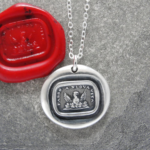 Phoenix Wax Seal Necklace In Silver - Step To A New Life - Phoenix Rising From Ashes