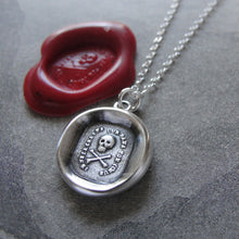 Load image into Gallery viewer, Wax Seal Necklace Skull - Fearless antique wax seal jewelry Memento Mori motto No Fear - RQP Studio