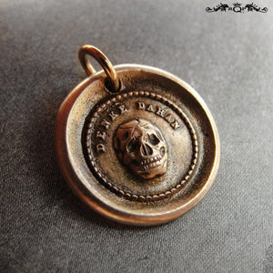 Skull Wax Seal Charm In Bronze - Memento Mori Motto - Think Of It - RQP Studio
