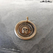 Load image into Gallery viewer, Skull Wax Seal Charm In Bronze - Memento Mori Motto - Think Of It - RQP Studio