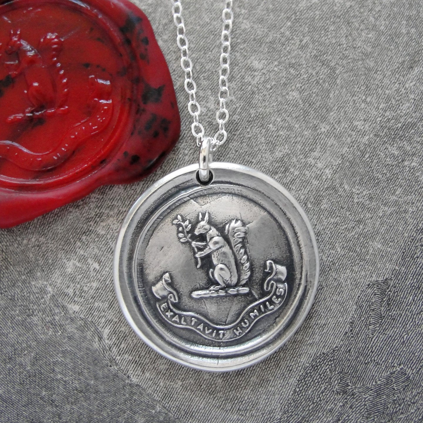 Blessed Are The Humble - Silver Squirrel Wax Seal Necklace - Exalted - RQP Studio