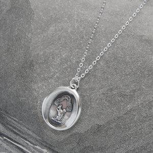 Squirrel Wax Seal Necklace In Silver - Wise Is The Person Who Looks Ahead - RQP Studio
