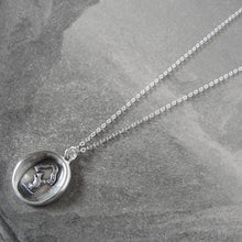Load image into Gallery viewer, Squirrel Wax Seal Necklace In Silver - Wise Is The Person Who Looks Ahead - RQP Studio