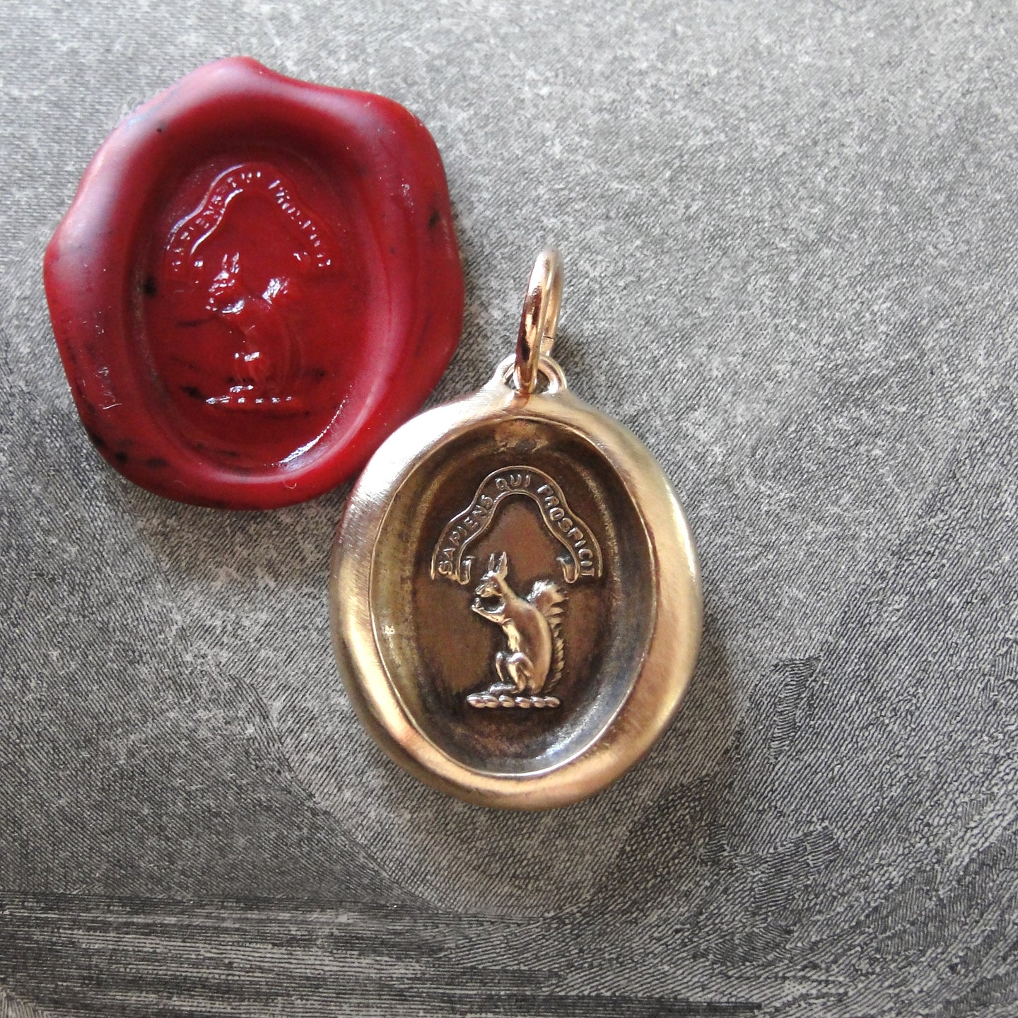 Bronze Squirrel Wax Seal Pendant - Wise Is The Person Who Looks Ahead - RQP Studio