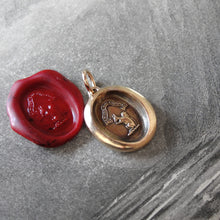 Load image into Gallery viewer, Bronze Squirrel Wax Seal Pendant - Wise Is The Person Who Looks Ahead - RQP Studio