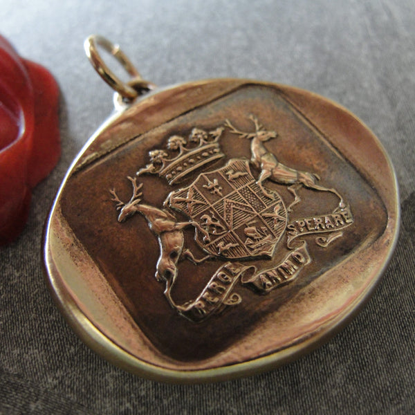 Never Give Up Hope wax seal pendant