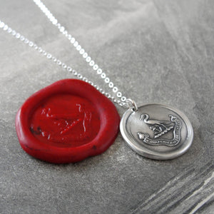Preserve A Calm Mind - Silver Wax Seal Necklace - Stork Anchor Horace Odes Quote