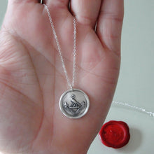Load image into Gallery viewer, Preserve A Calm Mind - Silver Wax Seal Necklace - Stork Anchor Horace Odes Quote