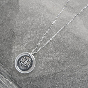 Strength With Virtue - Silver Spear Wax Seal Necklace - Honor Chivalry