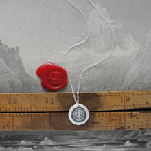 Load image into Gallery viewer, Strength With Virtue - Silver Spear Wax Seal Necklace - Honor Chivalry