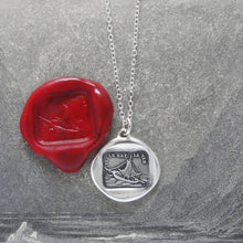 Load image into Gallery viewer, Wax Seal Necklace Such Is Life - antique wax seal charm jewelry French boat motto - RQP Studio