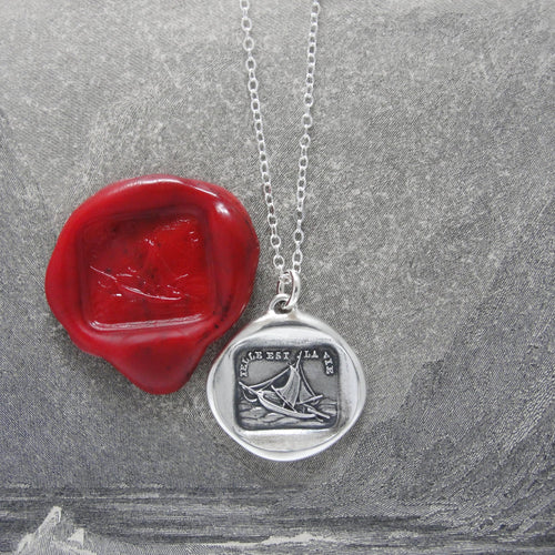 Wax Seal Necklace Such Is Life - antique wax seal charm jewelry French boat motto - RQP Studio