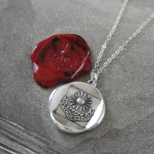 Silver Sun Wax Seal Necklace - Latin motto Be Mindful Of Thy Ancestors - RQP Studio