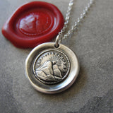 Wax Seal Necklace - Until We Meet Again - antique wax seal charm jewelry Setting Sun