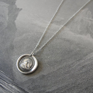 Wax Seal Necklace - Until We Meet Again - antique wax seal charm jewelry Setting Sun - RQP Studio