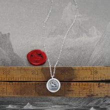 Load image into Gallery viewer, Go Getter - Martlet Mythical Swallow Bird Silver Wax Seal Necklace