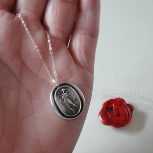 Terpsichore - Silver Wax Seal Necklace - Goddess of Dance Music Song - RQP Studio