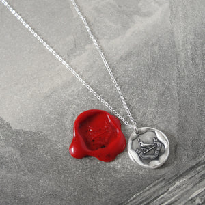 My Help Comes From The Lord - Silver Religious Wax Seal Necklace Psalm 124
