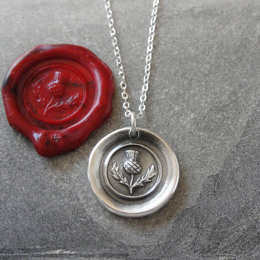Thistle Wax Seal Necklace In Silver - Scottish heritage emblem jewelry - RQP Studio